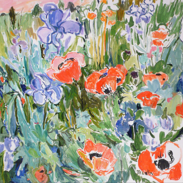 LILLIA FRANTIN - Orange Poppies and Blue Irises